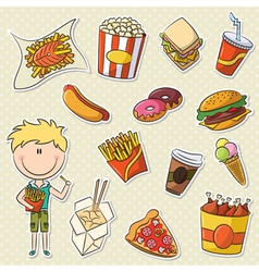 Boy With Fast Food vector image