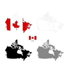 Canada country black silhouette and with flag on vector image vector image