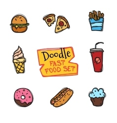 doodle style fast food set Cute hand drawn vector image vector image