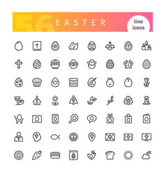 easter line icons set vector image vector image