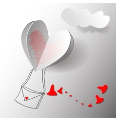 Heart Paper Sticker With Shadow - Postcard vector image