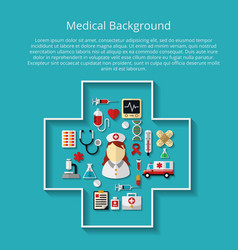 Medicine icons on background with text vector image