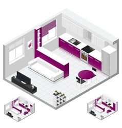 Studio apartment isometric icon set vector