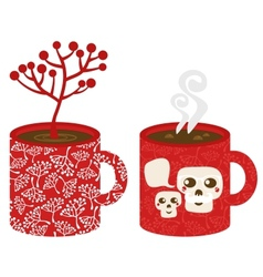 Two red cups vector image vector image