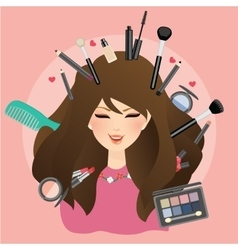 woman girl female smile with make up around vector image
