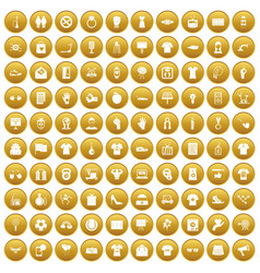 100 t-shirt icons set gold vector image