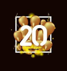 20 year anniversary white gold balloon template vector