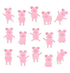 A set of cute pig characters in different poses vector