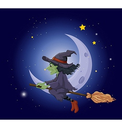 A witch riding on a broomstick floating near the vector