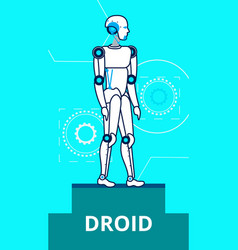 Ai droid standing on stage flat poster template vector