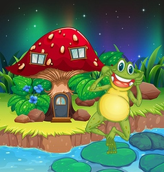 An annoying frog near the red mushroom house vector image