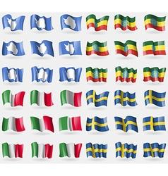 Antarctica Ethiopia Italy Sweden Set of 36 flags vector