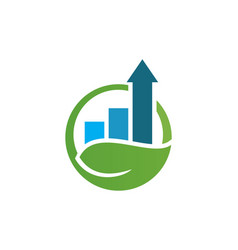 arrow business graph nature logo vector image