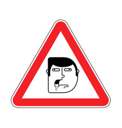 attention stupid caution blunt road red warning vector image