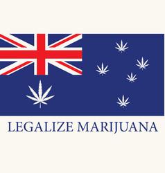Australian flag with leaves legalized marijuana vector