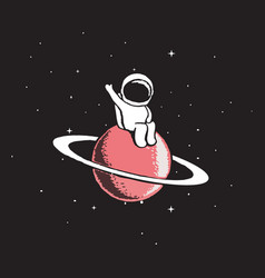 Baby astronaut sits on saturn vector