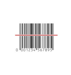 Barcode scanner icon black barcode with red vector