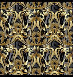baroque 3d seamless pattern antique background vector image