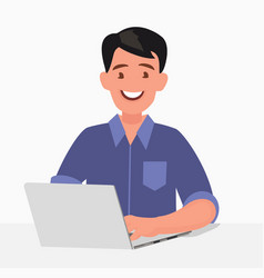 business man and laptop work at computer vector image
