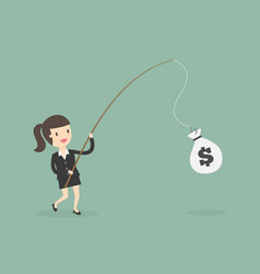 businesswoman catching money with fishing rod vector image