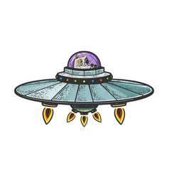 Cat on ufo spaceship sketch vector