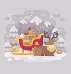 cheerful santa claus reindeer lying down near vector image