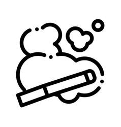 Cigarette and smoke steam thin line icon vector