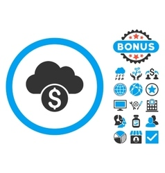 Cloud Banking Flat Icon with Bonus vector image