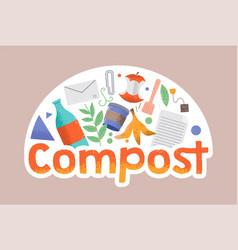 Compost zero waste eco friendly print vector