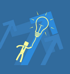 Concept idea - a man flying on light bulb vector