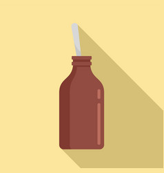 Cough syrup bottle icon flat style vector