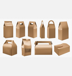 Craft food box cardboard lunch box and food pack vector