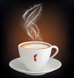 cup cappuccino with a steam feather vector image