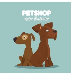 cute dogs pet shop clinic veterinary design vector image