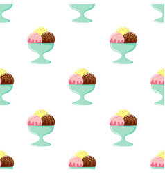 cute ice cream cartoon seamless pattern on white vector image