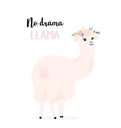 Cute llama with flowers no drama llama vector