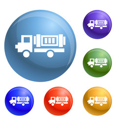 eco truck icons set vector image