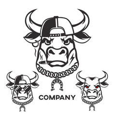 Evil bull head logo vector