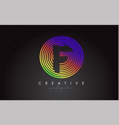 f letter logo design with colorful rainbow vector image