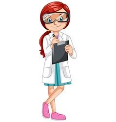Female scientist recording experiment vector