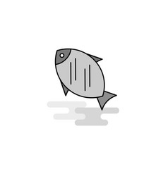 fish web icon flat line filled gray icon vector image