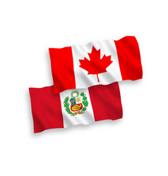 Flags canada and peru on a white background vector