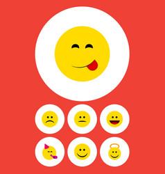 Flat icon emoji set of sad delicious food vector