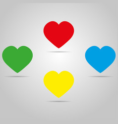 four colored hearts with shadow on a grey color vector image