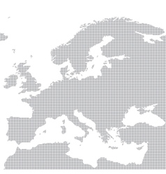 Grey map of Europe in the dot vector image
