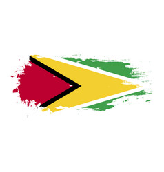 Grunge brush stroke with guyana national flag vector