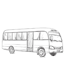 Hand drawn transport for travel Bus sketch vector
