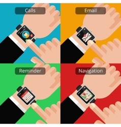 Hands with smartwatch and unread message vector