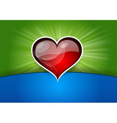 Heart background blue green red vector