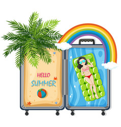 hello summer in suitcase vector image